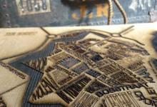 Stadskaart in eikenhout